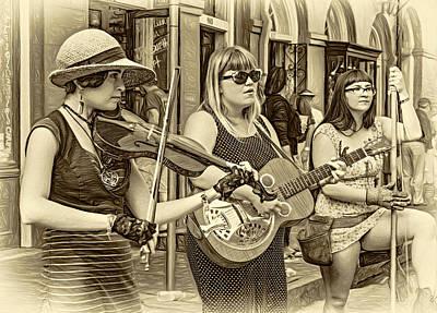Street Musicians Digital Art - Country In The French Quarter 3 Sepia by Steve Harrington