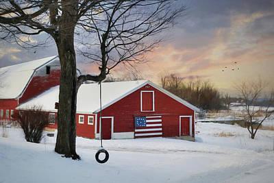 Patriotic Barn Photograph - Country Jungle Gym by Lori Deiter