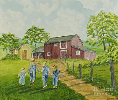 Shed Painting - Country Kids by Charlotte Blanchard