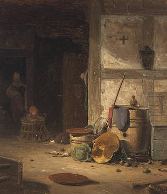 Painting - Country Kitchen With A Small Child In Walking Chair by Georg Emil Libert
