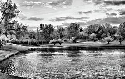 Photograph - Country Lake Tennessee Black White  by Chuck Kuhn