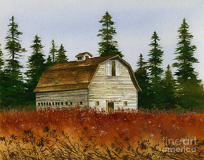 Rustic Barn Painting - Country Landscape by James Williamson