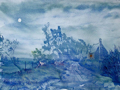 Painting - Country Lane By Moonlight by Glenn Marshall