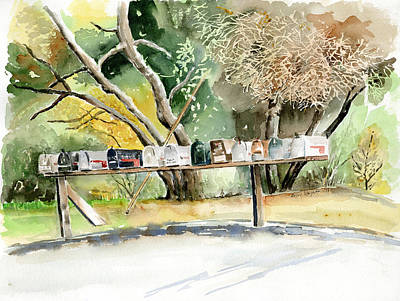 Mailbox Painting - Country Mailboxes by Arline Wagner