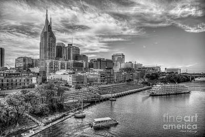 Photograph - Country Music Capital B W Nashville Tennessee Cityscape Art by Reid Callaway