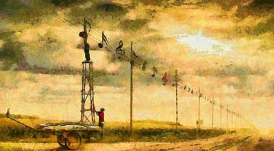 Sheet Painting - Country Musician - Da by Leonardo Digenio