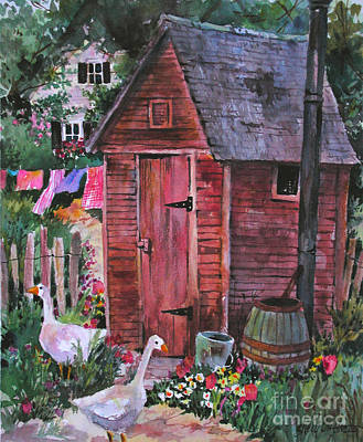 Country Outhouse With Geese Original