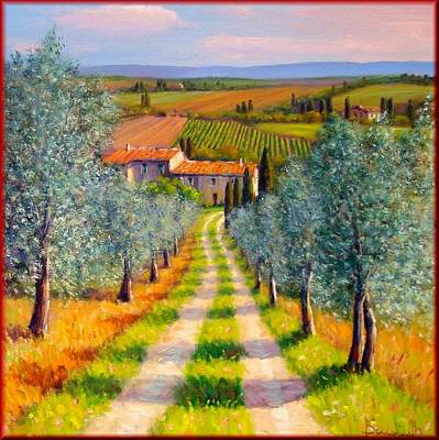 Italy Town Large Painting - Country Path by Mauro Bendinelli
