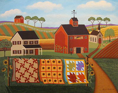Quilts Painting - Country Quilts by Mary Charles