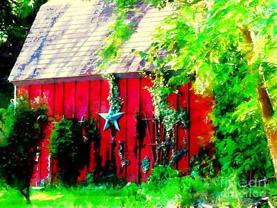 Country Red Barn Star Art Print by Janine Riley