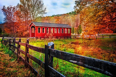 Sunrise At The Bridge Photograph - Country Red by Debra and Dave Vanderlaan