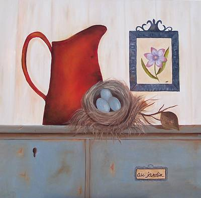 Painting - Country Red Pitcher And Robin Egg. Sold by Susan Dehlinger
