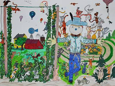 Balloon Flower Drawing - Country Rendezvous by Wanda Gancarz