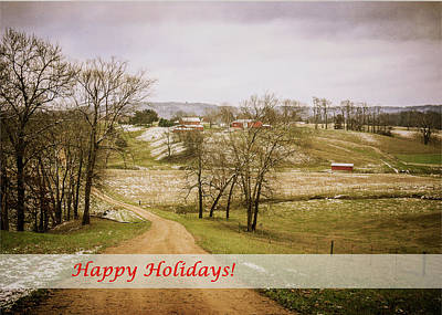 Photograph - Country Road Happy Holidays - Color by Joni Eskridge