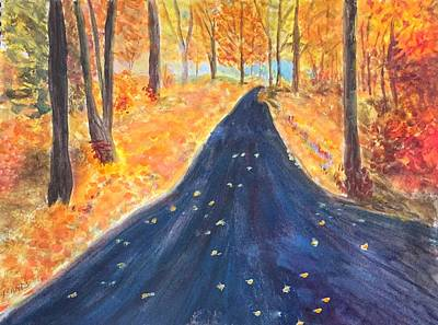 Painting - Country Road In Fall by Anne Sands