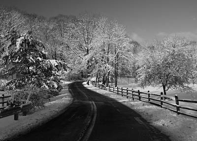 Photograph - Country Road In Snow Rendered In Blackand White by Paul Ross