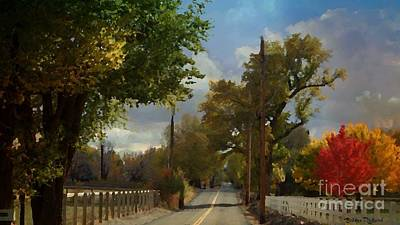 Photograph - Country Road In The Fall Painting by Bobbee Rickard