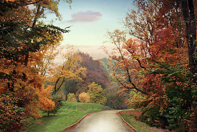 Autumn Landscape Digital Art - Country Road by Jessica Jenney