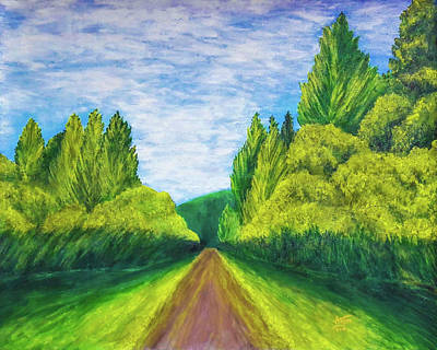One Point Perspective Painting - Country Road Painting by Ankita Raut