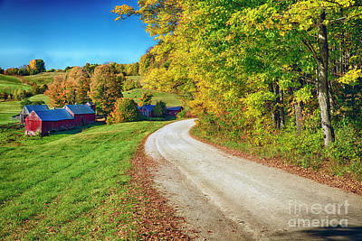 Country Road With A Farm Art Print by George Oze