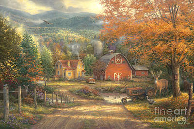 Autumn Scene Painting - Country Roads Take Me Home by Chuck Pinson
