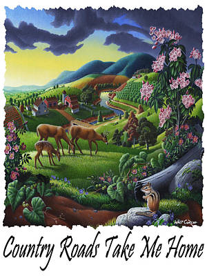 Mountain Laurel Painting - Country Roads Take Me Home - Deer Chipmunk In High Meadow Appalachian Country Landscape by Walt Curlee