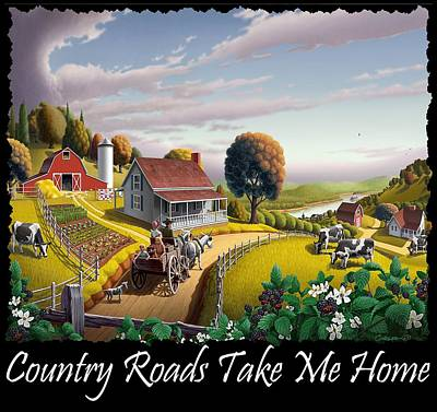 Redlin Painting - Country Roads Take Me Home T Shirt - Appalachian Blackberry Patch Country Farm Landscape 2 by Walt Curlee
