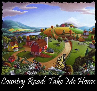 Redlin Painting - Country Roads Take Me Home T Shirt - Appalachian Blackberry Patch Rural Farm Landscape 2 by Walt Curlee