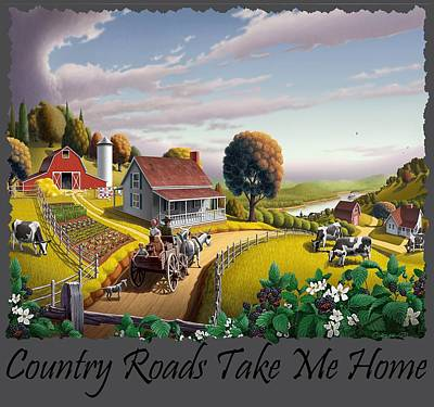Redlin Painting - Country Roads Take Me Home T Shirt - Appalachian Blackberry Patch Rural Farm Landscape - Appalachia by Walt Curlee