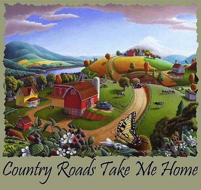 Redlin Painting - Country Roads Take Me Home T Shirt - Appalachian Blackberry Patch Rural Farm Landscape by Walt Curlee
