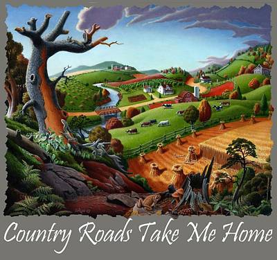 Redlin Painting - Country Roads Take Me Home T Shirt - Autumn Wheat Harvest 2 Country Farm Landscape by Walt Curlee