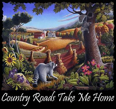 Redlin Painting - Country Roads Take Me Home T Shirt - Coon Gap Holler - Appalachian Country Landscape 2 by Walt Curlee