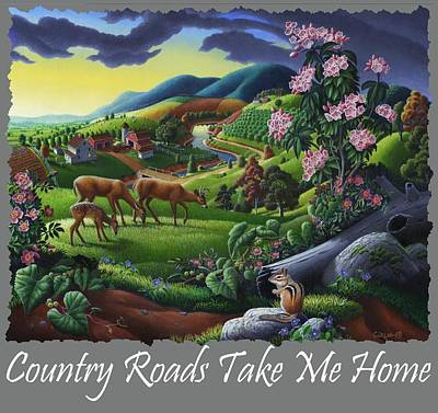 Redlin Photograph - Country Roads Take Me Home T Shirt - Deer Chipmunk In High Meadow Appalachian Country Landscape 2 by Walt Curlee
