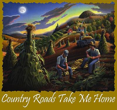 Shock Painting - Country Roads Take Me Home T Shirt - Farmers Shucking Corn - Farm Landscape 2 by Walt Curlee
