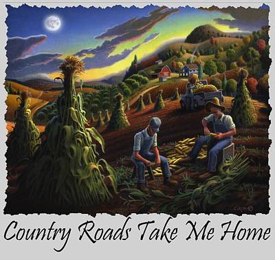 Shock Painting - Country Roads Take Me Home T Shirt - Farmers Shucking Corn - Farm Landscape by Walt Curlee