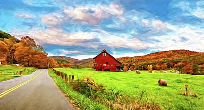 Road Paint Photograph - Country Road...west Virginia - Paint by Steve Harrington