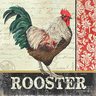 Retro Painting - Country Rooster 1 by Debbie DeWitt