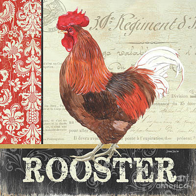 Farmyard Painting - Country Rooster 2 by Debbie DeWitt