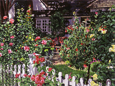 Picket Fence Flowers Painting - Country Rose Cottage by David Lloyd Glover