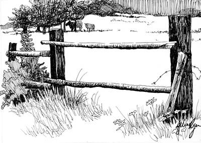 Farm Fence Drawing