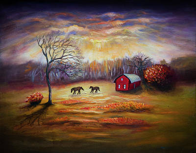 Painting - Country Scene Late Fall by Lilia D