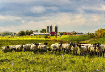 Sheep Digital Art - Country Sheep by Ken Morris