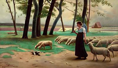 Painting - Country Shepherdess  by Henri Lerolle