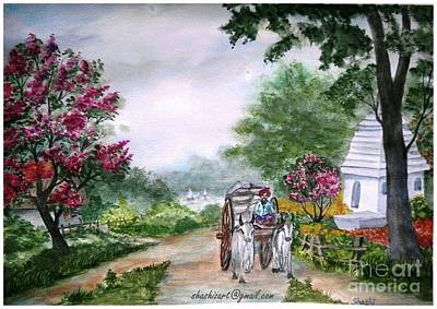 Bullock-cart Painting - Country Side 2 by Shashikanta Parida
