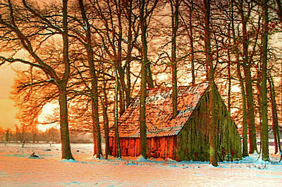 Barns In Snow Mixed Media - Country Snow by KaFra Art