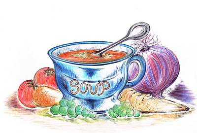 Locally Grown Drawing -  Countryside Harvest Soup by Teresa White