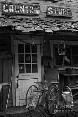 Photograph - Country Store Teddy - Black And White by Adam Jewell