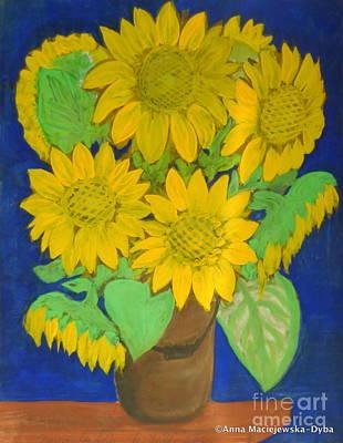 Painting - Country Sunflowers by Anna Folkartanna Maciejewska-Dyba