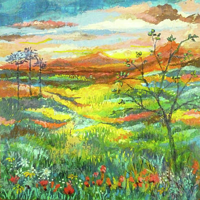 Painting - Country Sunset by Jean Batzell Fitzgerald