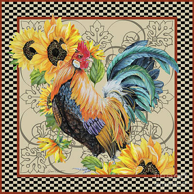 Painting - Country Time Rooster-a by Jean Plout